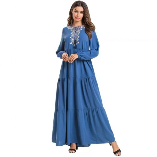 Lovely Blue Embroidery Long Dress Soft and Comfortable