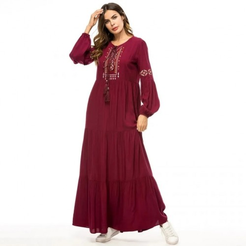Casual Floor-Length Dress with Geometry Embroideries