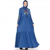 Casual Loose Floor-length Dress with Flower Embroidery Design