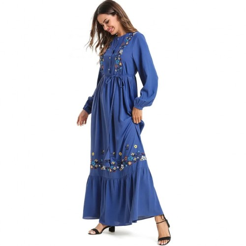 Blue Floor-length Dress with Full Sleeve and Flower Embroidery