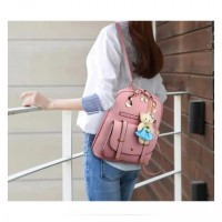 Korean Style Backpack with Cute Bear Key-Chain