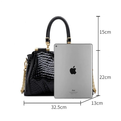 ZOOLER Elegant Black Genuine Leather Handbag