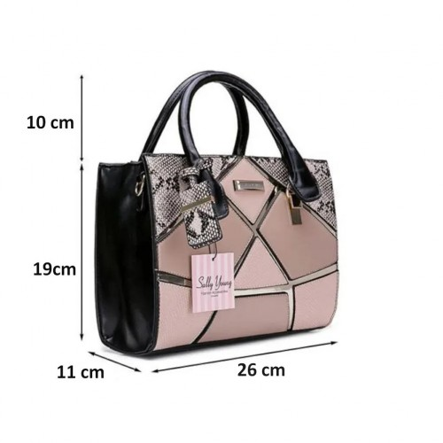 SALLY YOUNG Small Urban Style Handbag Color Stitching Surface