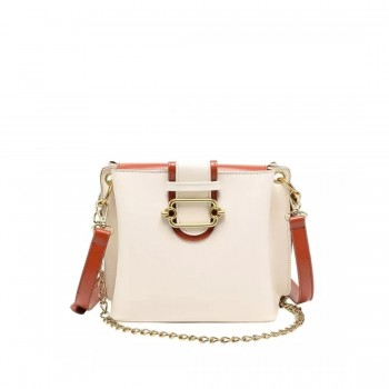 Solid Satchel Handbag with Elegant Chain Strap