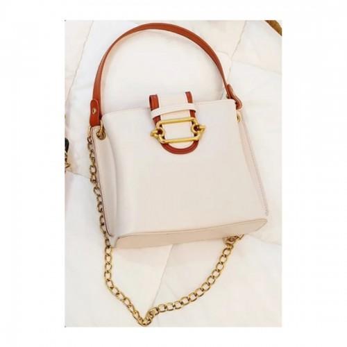 Solid Satchel Handbag with Elegant Chain Strap