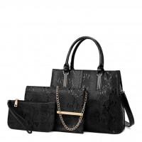Beautiful Metallic Emboss Handbag Sets 3 pcs