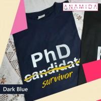T-Shirt PhD Survivor Short Sleeves Dark Blue Color