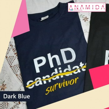 T-Shirt PhD Survivor Short Sleeves Dark Blue Color
