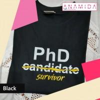 T-Shirt PhD Survivor Short Sleeves Black Color