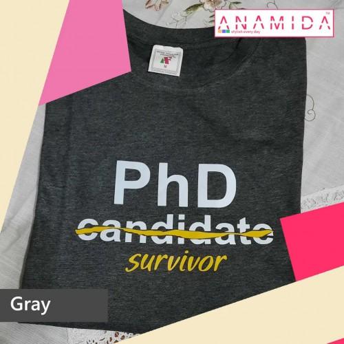 T-Shirt PhD Survivor Short Sleeves Gray Color