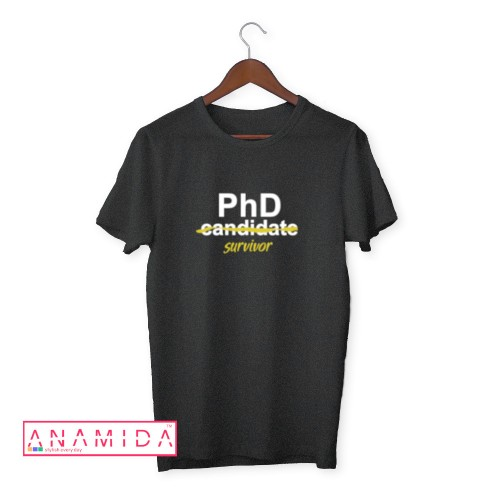 T-Shirt PhD Survivor Short Sleeves Gray Color