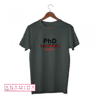 T-Shirt PhD Survivor Short Sleeves Stone Color