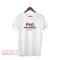 T-Shirt PhD Survivor Short Sleeves White Color